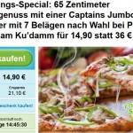 Pizza Deal Berlin: Captains Jumbo Pizza für Vier Pirate Pizza am Ku'damm für 14,90 statt 36 €