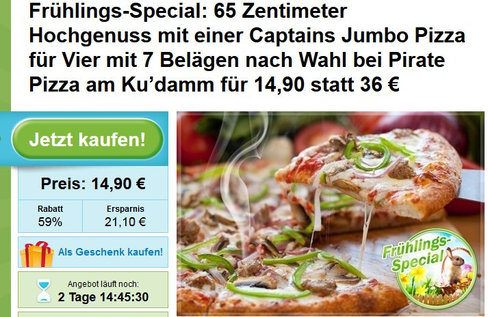 Pizza Deal Berlin: Captains Jumbo Pizza für Vier Pirate Pizza am Ku'damm für 14,90 statt 36 €