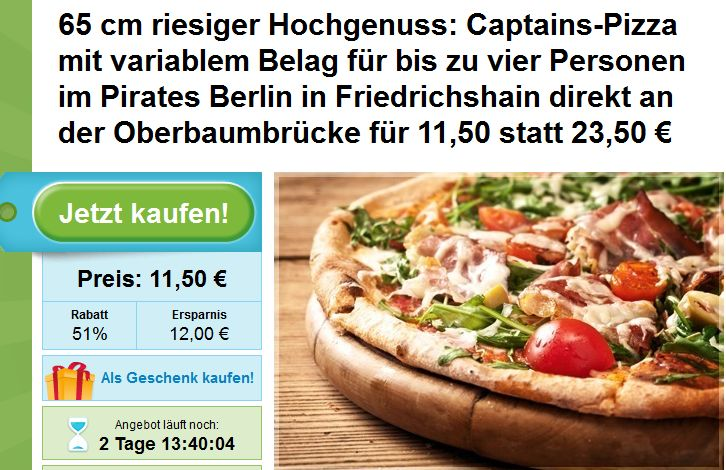 Pizza Deal Berlin: Captain´s Pizza bei Pirates Pizza Berlin Friedrichshain mit 51% Rabatt